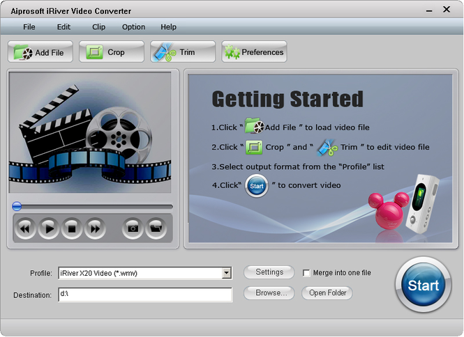 Aiprosoft iRiver Video Converter Screenshot
