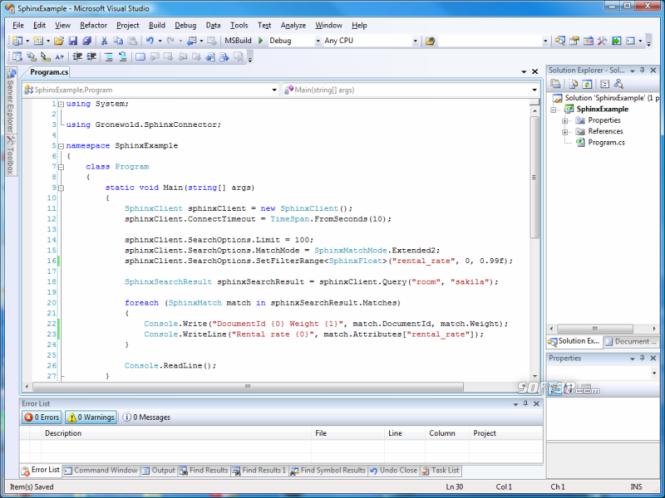 SphinxConnector.NET Screenshot 3