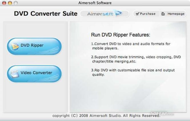 Aimersoft DVD Converter Suite for Mac Screenshot