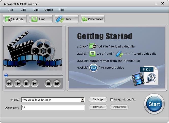 Aiprosoft MKV Converter Screenshot