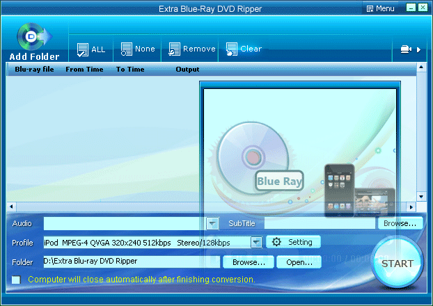 Extra Blu-ray DVD Ripper Screenshot
