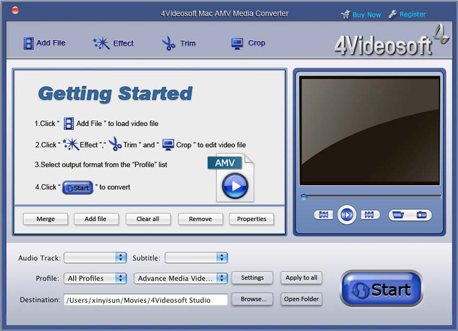 4Videosoft Mac AMV Media Converter Screenshot