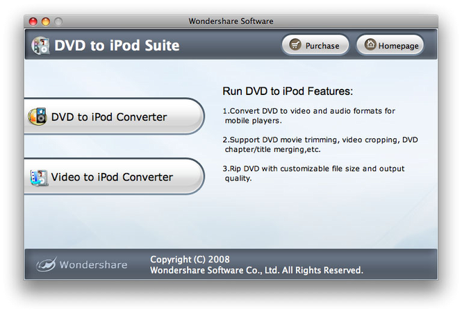 Wondershare DVD to iPod Suite for Mac Screenshot