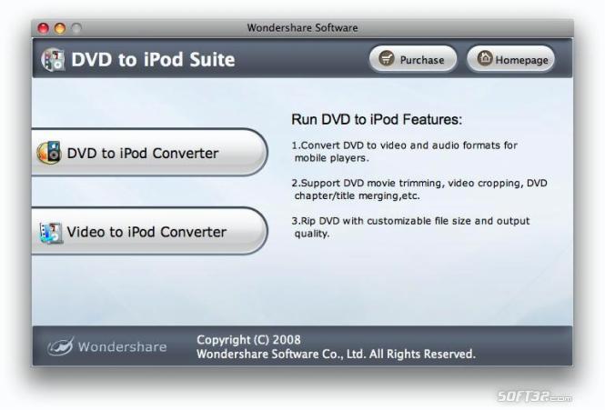 Wondershare DVD to iPod Suite for Mac Screenshot 2