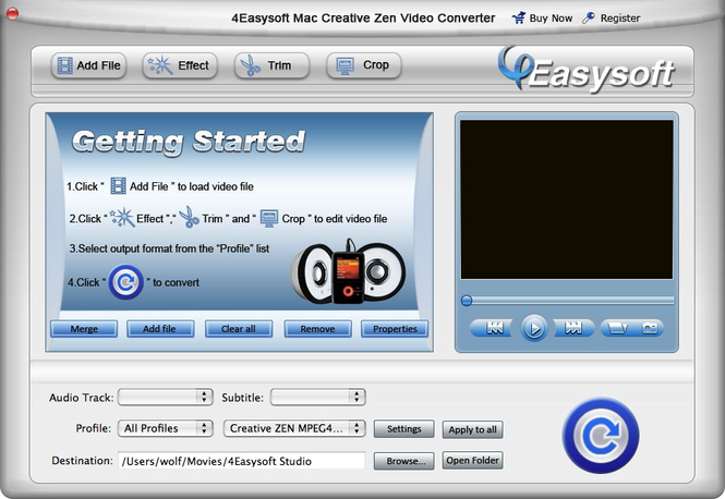 4EasysoftMac Creative Zen VideoConverter Screenshot