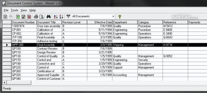 Document Control Screenshot