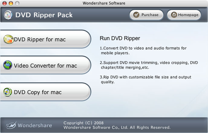Wondershare DVD Ripper Pack for Mac Screenshot 1