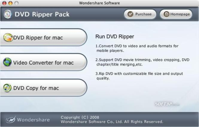 Wondershare DVD Ripper Pack for Mac Screenshot 2