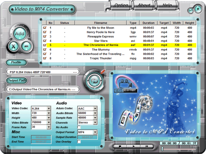 Video to MP4 Converter Screenshot 1