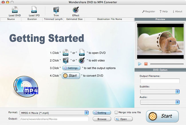 Wondershare DVD to MP4 Converter for Mac Screenshot
