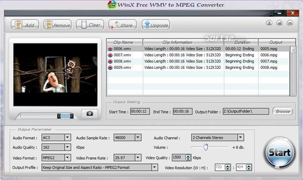 WinX Free WMV to MPEG Converter Screenshot 2