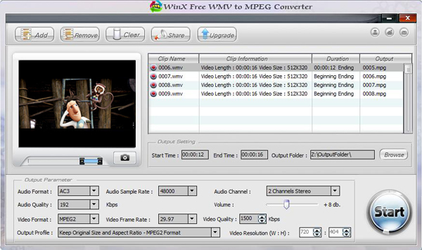 WinX Free WMV to MPEG Converter Screenshot