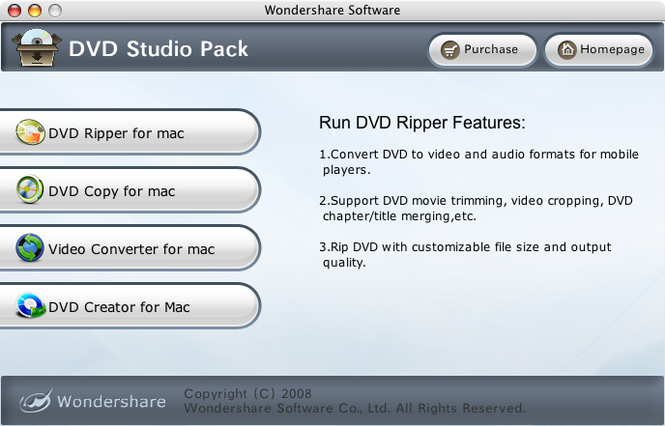 Wondershare DVD Studio Pack for Mac Screenshot