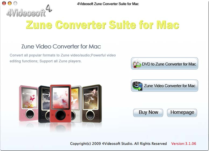 4Videosoft Zune Converter Suite for Mac Screenshot 1