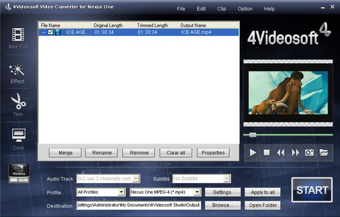 4Videosoft Video Converter for Nexus One Screenshot 1