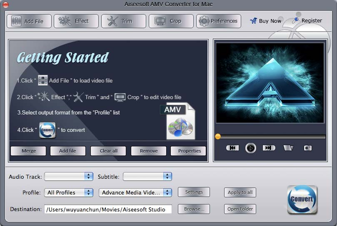Aiseesoft AMV Converter for Mac Screenshot