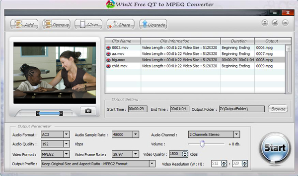 WinX Free QT to MPEG Converter Screenshot 1