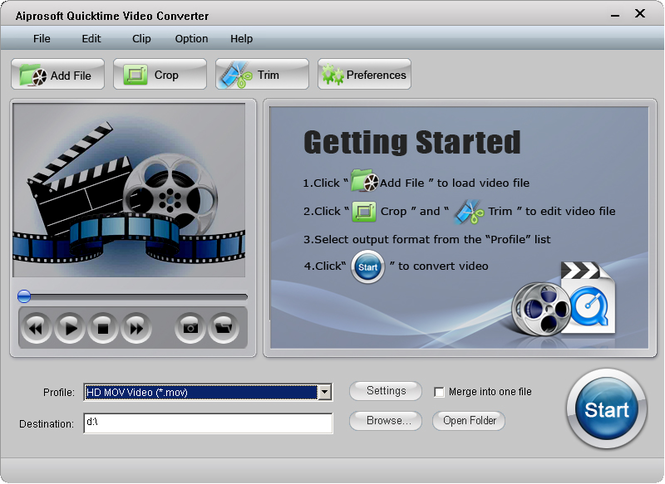 Aiprosoft Quicktime Video Converter Screenshot 1