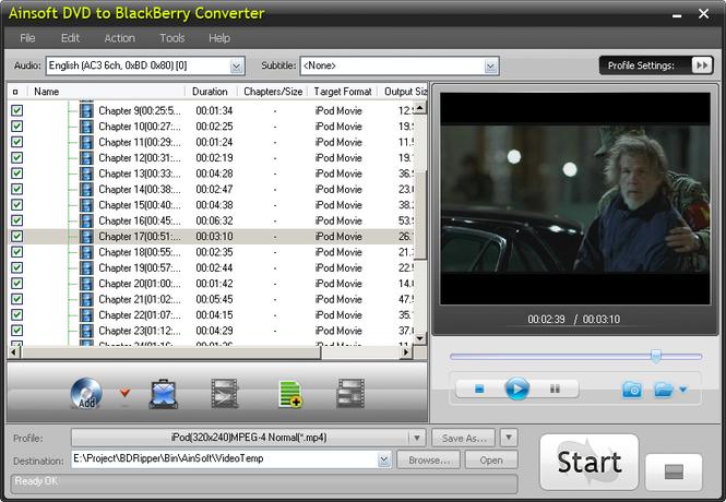 Ainsoft DVD to BlackBerry Converter Screenshot 1