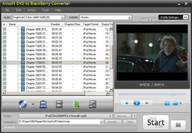 Ainsoft DVD to BlackBerry Converter Screenshot 2