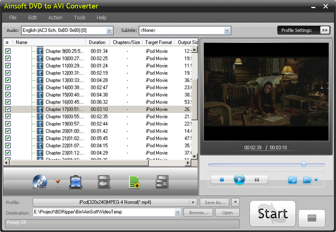 Ainsoft DVD to AVI Converter Screenshot