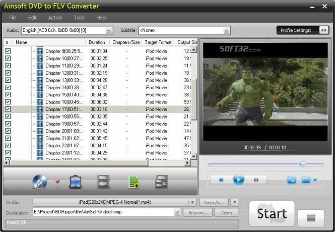 Ainsoft DVD to FLV Converter Screenshot 2