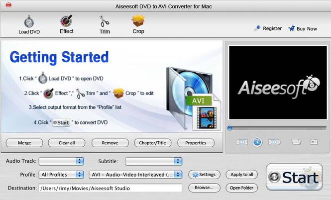 Aiseesoft DVD to AVI Converter for Mac Screenshot 3
