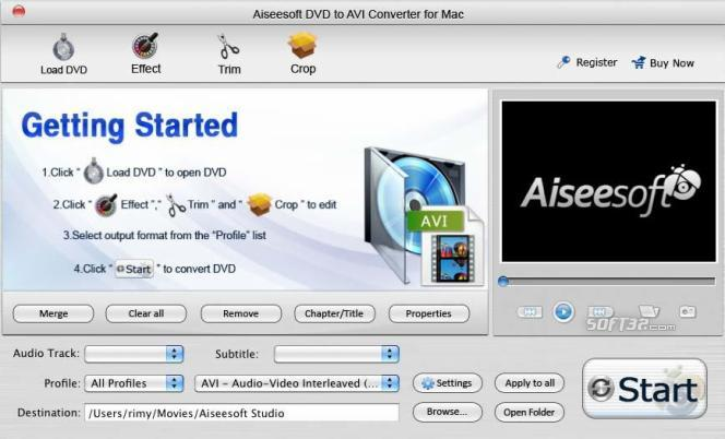 Aiseesoft DVD to AVI Converter for Mac Screenshot 2