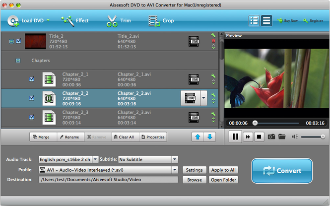 Aiseesoft DVD to AVI Converter for Mac Screenshot 1