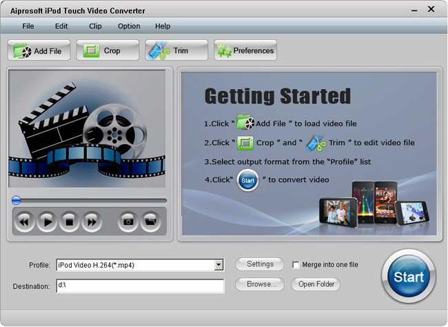 Aiprosoft iPod Touch Video Converter Screenshot