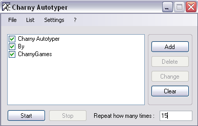 Charny Autotyper Screenshot