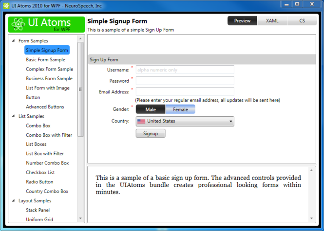 UI Atoms for Silverlight Screenshot