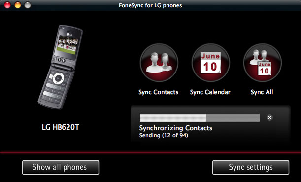 FoneSync for LG phones Screenshot
