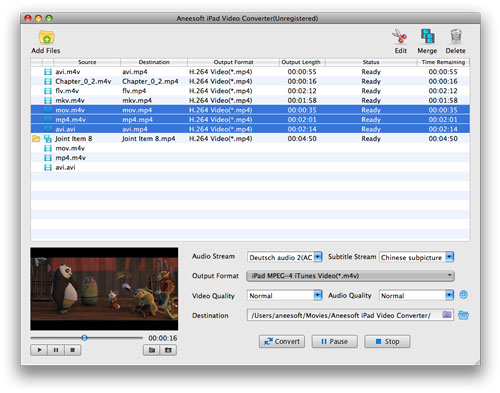 Aneesoft iPad Video Converter for Mac Screenshot