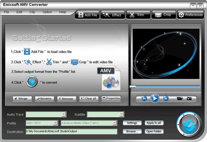 Emicsoft AMV Converter Screenshot
