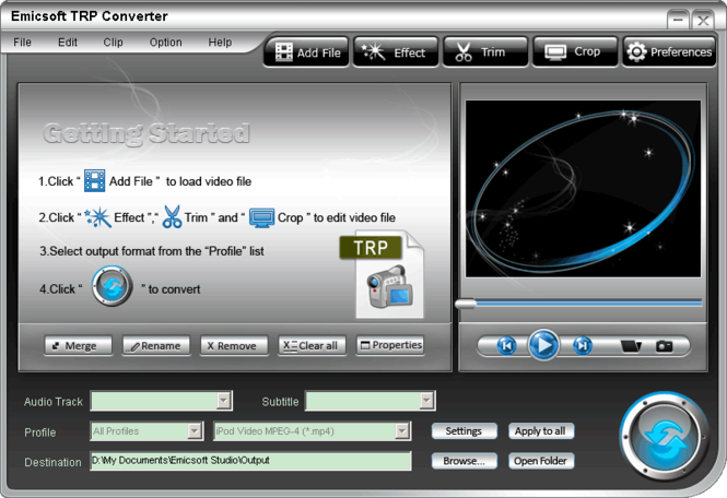 Emicsoft TRP Converter Screenshot