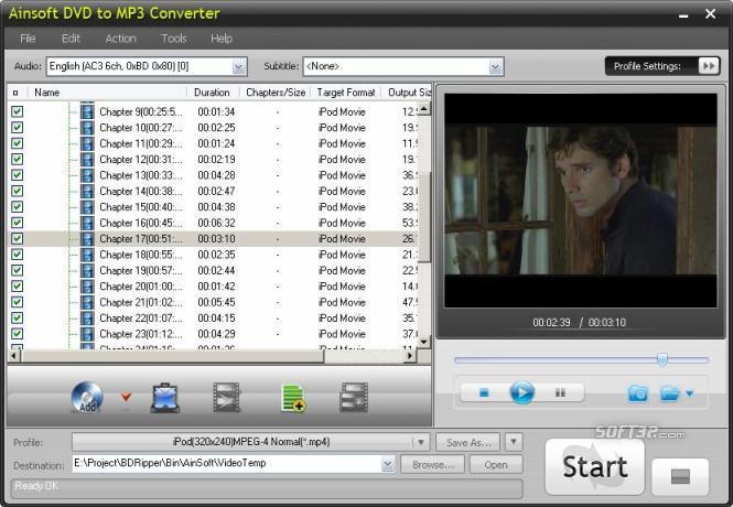 Ainsoft DVD to MP3 Converter Screenshot 2