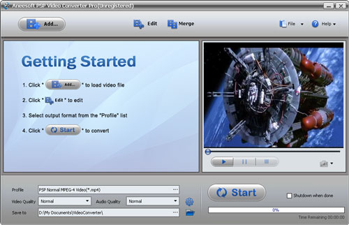 Aneesoft PSP Video Converter Screenshot