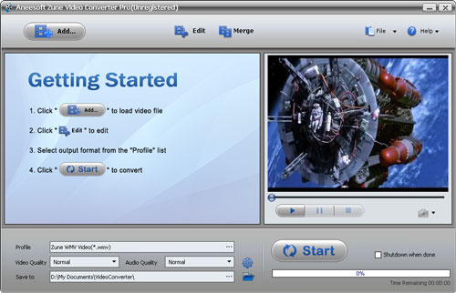 Aneesoft Zune Video Converter Screenshot 1