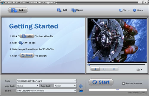 Aneesoft PS3 Video Converter Screenshot 1