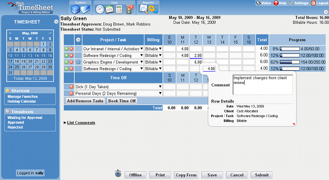 Web TimeSheet Screenshot