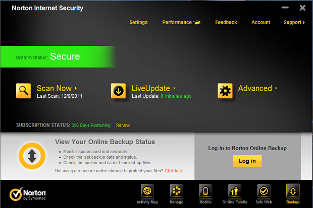 Norton Internet Security Screenshot 1