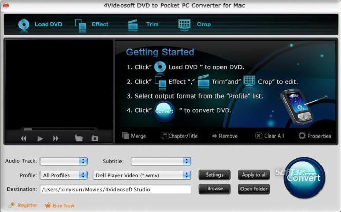 4Videosoft Mac DVD Pocket PC Converter Screenshot 3