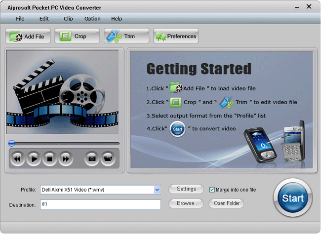Aiprosoft Pocket PC Video Converter Screenshot 1