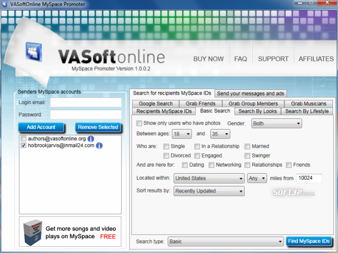 VASoftOnline MySpace Promoter Screenshot 2
