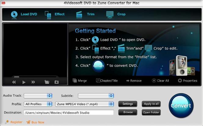 4Videosoft DVD to Zune Converter for Mac Screenshot 1