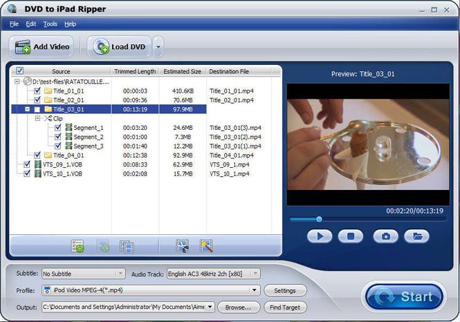 DVD to iPad Ripper Screenshot