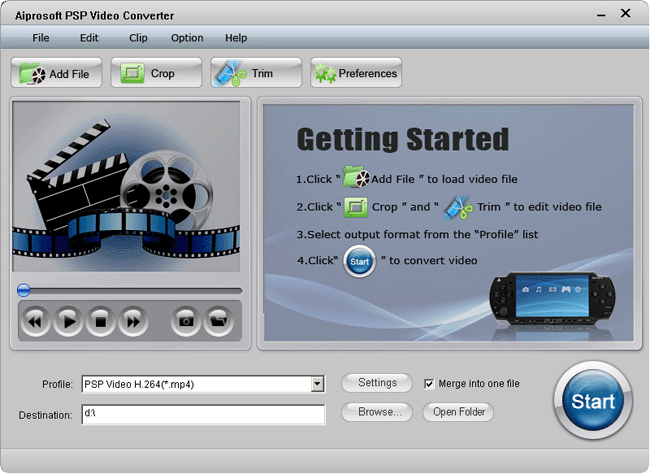Aiprosoft PSP Video Converter Screenshot
