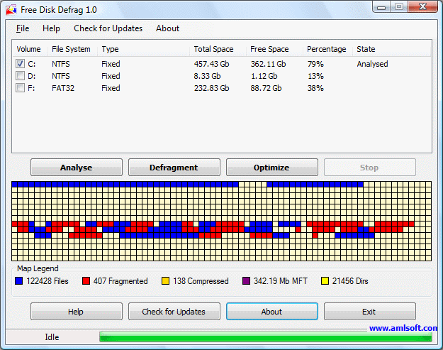Free Disk Defrag Screenshot