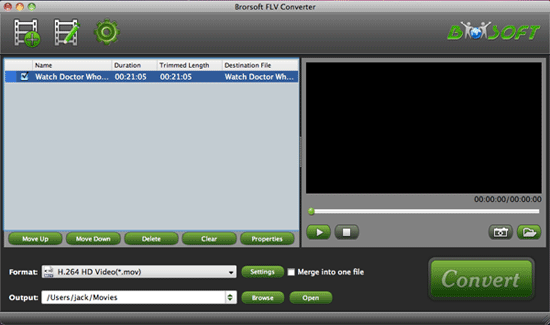 Brorsoft FLV Converter for Mac Screenshot 1
